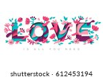 love typography design with... | Shutterstock .eps vector #612453194