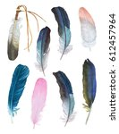 watercolor feathers on white... | Shutterstock . vector #612457964