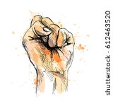 colored hand sketch raised his... | Shutterstock .eps vector #612463520