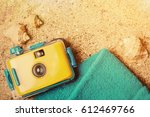 travel camera and summer... | Shutterstock . vector #612469766