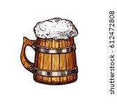Beer Wooden Mug Isolated Sketc...