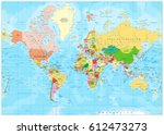 highly detailed political world ... | Shutterstock .eps vector #612473273