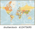 political world map vintage... | Shutterstock .eps vector #612473690