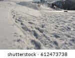 snowy winter landscape on... | Shutterstock . vector #612473738