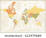 blank world map retro color... | Shutterstock .eps vector #612479684