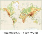 detailed physical world map... | Shutterstock .eps vector #612479720