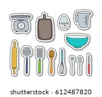 doodle icons  stickers. kitchen ... | Shutterstock .eps vector #612487820