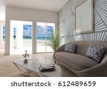 home interior beach view 3d... | Shutterstock . vector #612489659