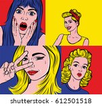 pop art illustrations set.... | Shutterstock .eps vector #612501518
