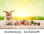 color full easter eggs and... | Shutterstock . vector #612526109