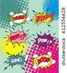 comic speech bubble set with... | Shutterstock .eps vector #612556628