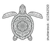 stylized underwater turtle ... | Shutterstock .eps vector #612562520