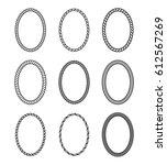 vector rope set of oval frames. ... | Shutterstock .eps vector #612567269