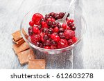 fruit berries ice chocolate | Shutterstock . vector #612603278