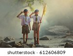boy scouts scout kids outdoors... | Shutterstock . vector #612606809