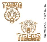 tigers. emblem template with... | Shutterstock .eps vector #612616016
