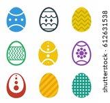 happy easter vector icon set | Shutterstock .eps vector #612631538