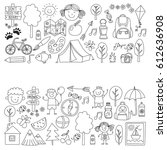 summer camp children  kids... | Shutterstock .eps vector #612636908