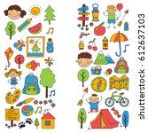 summer camp children  kids...   Shutterstock .eps vector #612637103
