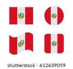 Stock vector set flags of peru 612639059