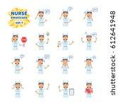 set of nurse emoticons showing... | Shutterstock .eps vector #612641948