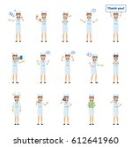 set of nurse characters showing ... | Shutterstock .eps vector #612641960