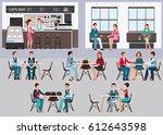 modern cafe shop interior... | Shutterstock .eps vector #612643598