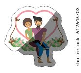 couple love together in swing...   Shutterstock .eps vector #612646703