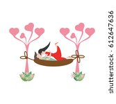 couple love hammock leisure... | Shutterstock .eps vector #612647636