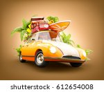 funny retro car with surfboard  ... | Shutterstock . vector #612654008