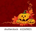 halloween pumpkin on the autumn ... | Shutterstock .eps vector #61265821