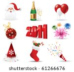 christmas icon set. vector... | Shutterstock .eps vector #61266676