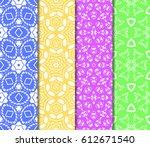 seamless set floral pattern.... | Shutterstock .eps vector #612671540