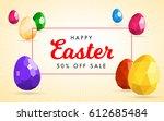 happy easter flyer or banner... | Shutterstock .eps vector #612685484