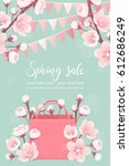 vertical template with pink... | Shutterstock .eps vector #612686249
