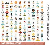 100 person icons set in flat... | Shutterstock .eps vector #612687110