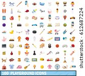100 playground icons set in... | Shutterstock .eps vector #612687224