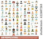 100 human icons set in flat... | Shutterstock .eps vector #612687263