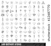 100 botany set in outline style ... | Shutterstock .eps vector #612687770