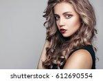 portrait of beautiful sensual... | Shutterstock . vector #612690554
