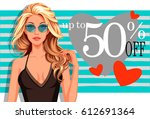 beautiful model wearing... | Shutterstock .eps vector #612691364