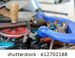 old working tools in a metal... | Shutterstock . vector #612702188