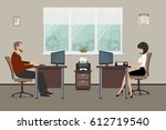 web banner of two office... | Shutterstock .eps vector #612719540