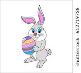 hand drawn easter bunny with... | Shutterstock .eps vector #612719738
