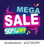 super sale vector banner.  50... | Shutterstock .eps vector #612720299
