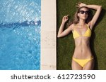 young slim beautiful woman in... | Shutterstock . vector #612723590