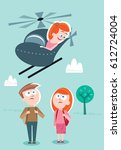 helicopter parenting   Shutterstock .eps vector #612724004