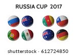 Set Of 3d Soccer Balls With...