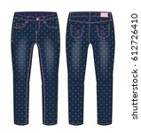 front and back view of denim... | Shutterstock .eps vector #612726410