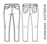 front and back view of pants... | Shutterstock .eps vector #612726518